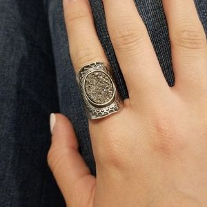 Silver Ring with Druzy